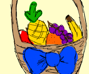 Fruit basket with blue bow