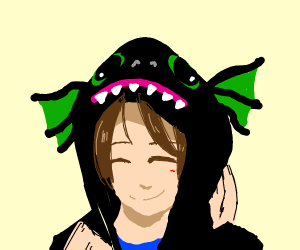 Happy Person in Dragon Hoodie