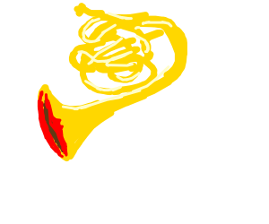 french horn with a mouth