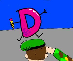 man salutes pink drawception D
