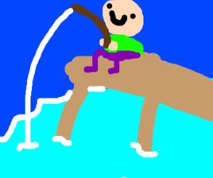 Happy person fishing