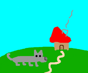 wolf going into a house
