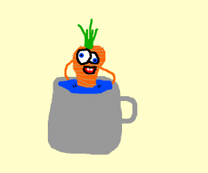 A carrot in a cup of water