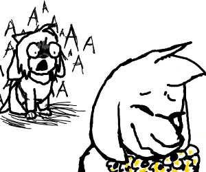 Temmie is terrified to see asriel