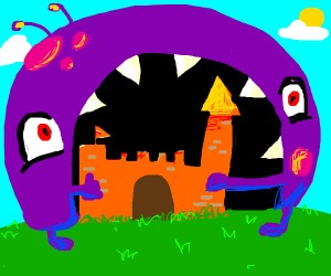 A giant purple monster eating an orange castl