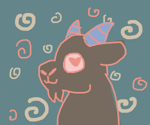 Cute goat with swirlies around him