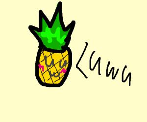 A blushing pineapple going uwu