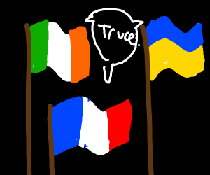 """A bunch of country flags yell """"T Ruce"""""""
