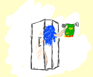 Blue hair girl in the shower (SFW)
