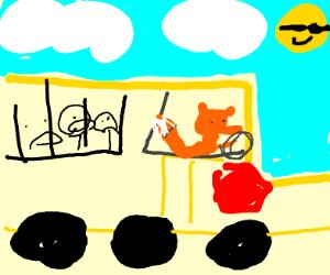 Fox or red panda driving a school bus