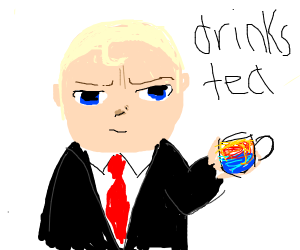 Boss baby drinks tea