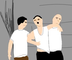 Three men drinking alcohol (very drunk)
