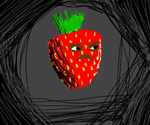 A very angry strawberry