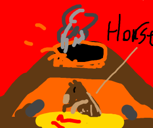 Horse in a volcano