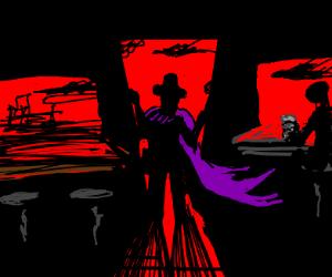 Cowboy busts into Saloon
