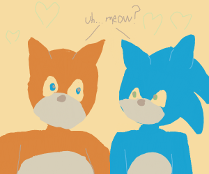 Brown cat, blue cat