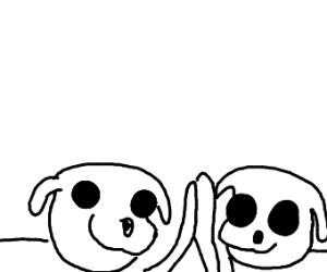 2 skeleton dogs high five