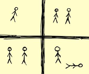 4 photos of stick figures