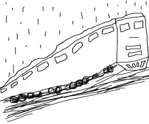 train in the rain (good drawing)