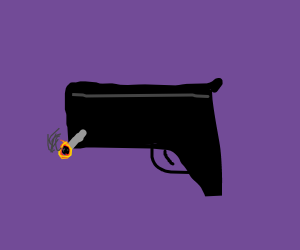 A gun smoking a cigarette
