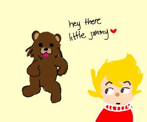 A bear threatening Jimmy