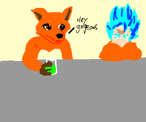 fox furry hits on blue hair goku