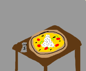 pizza with a pound of salt