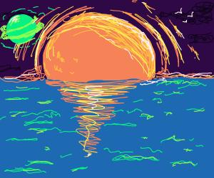 Saturn at the of an ocean horizon