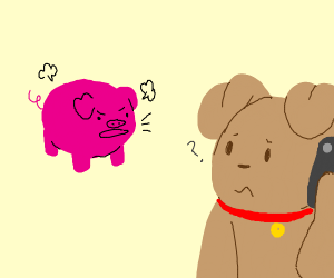 Pig yells at dog with iPhone monster