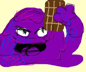 Sludge monster eats chocolate