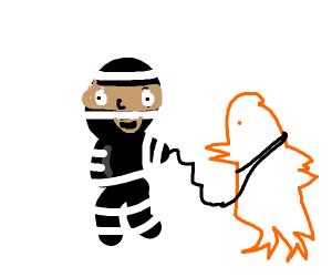 thief stealing giant derpy chicken
