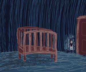Empty crib in the dark