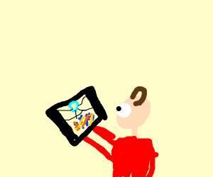 Toddler playing Drawception
