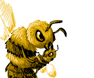 Bee holding a baby bee