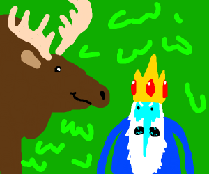Ice King in a forest with a moose