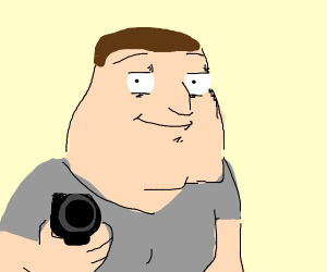 Joe Swanson aims a gun at you