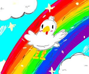 chicken sliding down a rainbow
