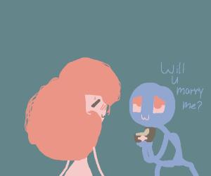 Blue stick man proposing to cream stick girl