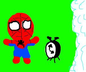 spiderman likes a clock