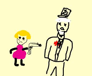 little girl killed the kfc man.