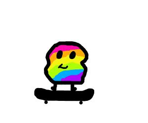 Rainbow blob skateboard