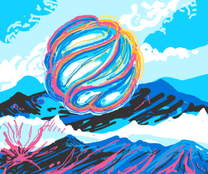 Ball of yarn floating over the mountains