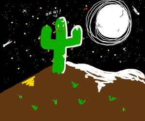 Friendly cactus under the full moon