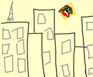 Mona Lisa flying over buildings