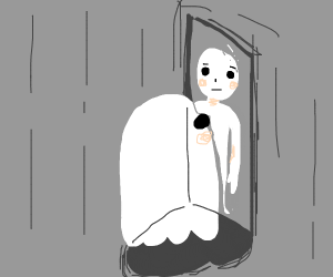 Ghost looks in the mirror and sees hi alive