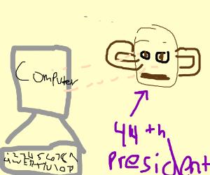 Obama staring at his computer.
