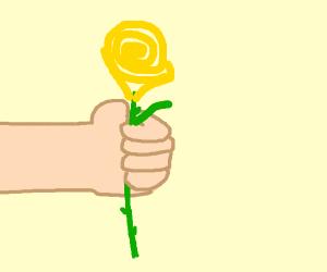 Holding a Golden Rose