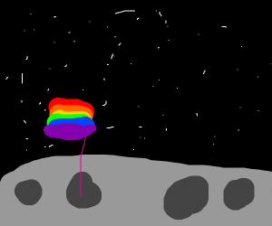 Gay pride moon landing