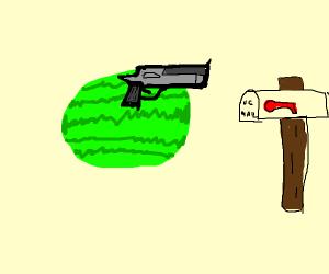 a watermelon shooting down a mailman