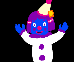 A Girl/clown/blue Man group kinda character